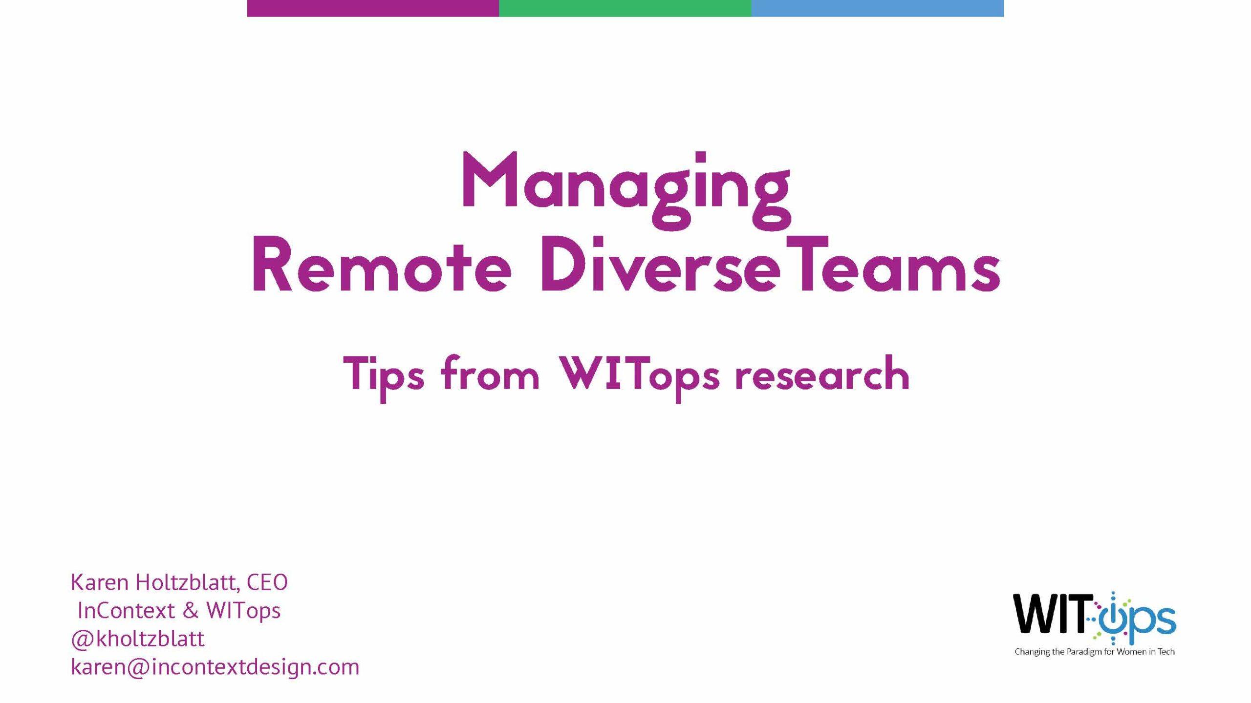 Managing Remote Diverse Teams